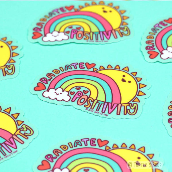 radiate positivity vinyl sticker - Funky Cat Emporium