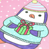 "Close up of holiday card with a pink background with white circle snowflakes. It says 'Season's greetings"" in white cursive and features a purple and white penquin wearing a light blue and pink striped fluffy beanie hat and a light blue/mint sweater. The penquin holds a green present with a red bow and ribbon."