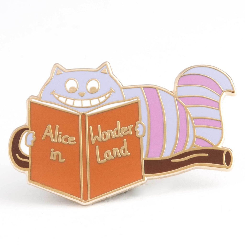 Cheshire Cat Reading Alice in Wonderland Enamel Pin - Funky Cat Emporium