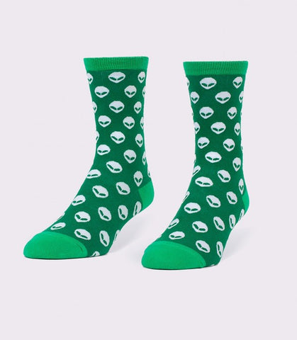 green alien socks