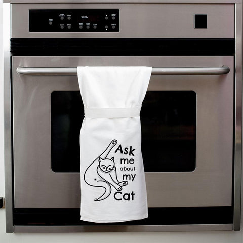ask me about my cat tea towel - Funky Cat Emporium