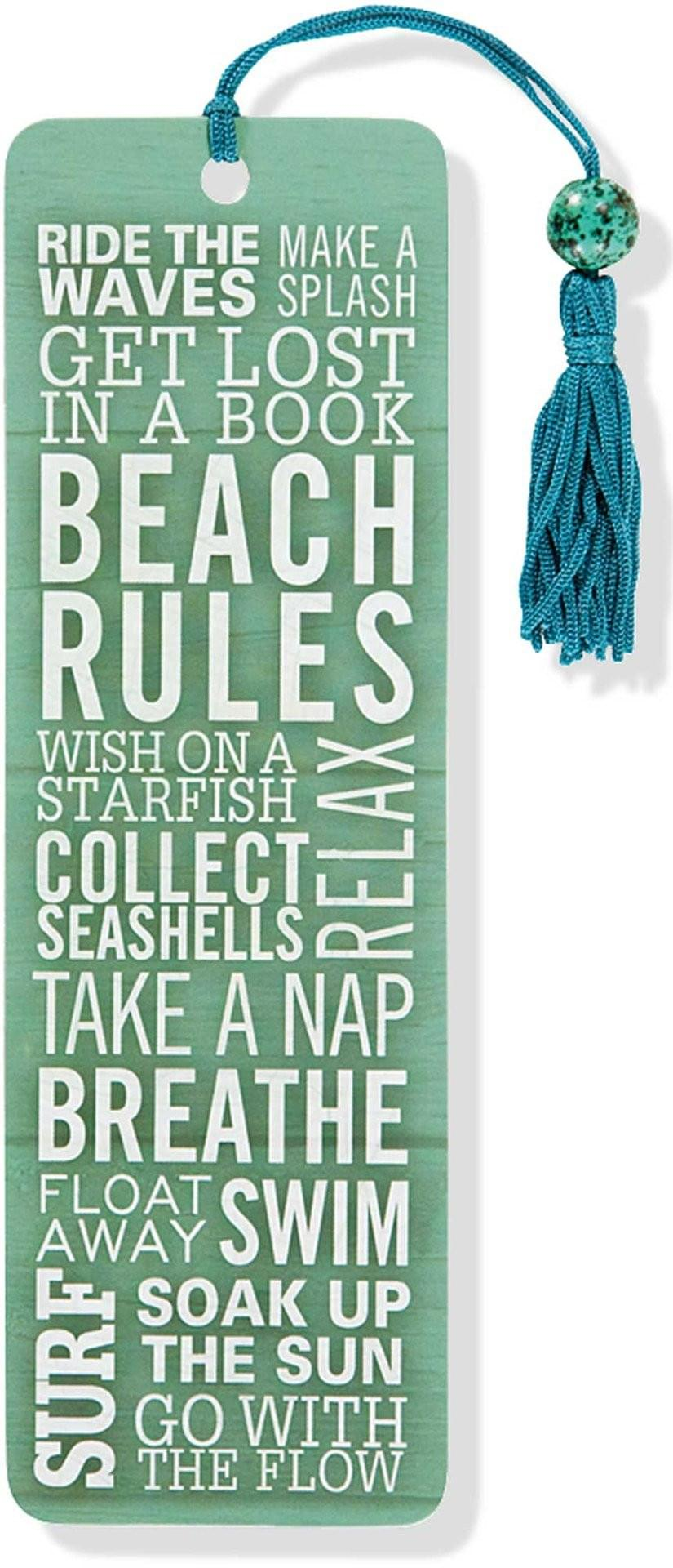 beach rules beaded bookmark
