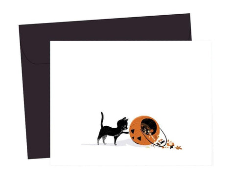 black cat treats or tricks card - Funky Cat Emporium