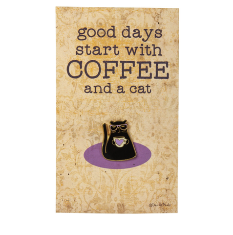 coffee and a cat enamel pin - Funky Cat Emporium