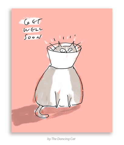 cat cone get well soon card - Funky Cat Emporium