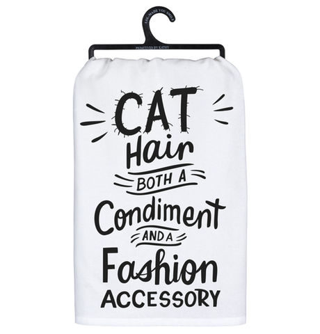 cat hair both a condiment and a fashion accessory tea towel - Funky Cat Emporium