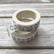 white washi tape with black cat head drawings