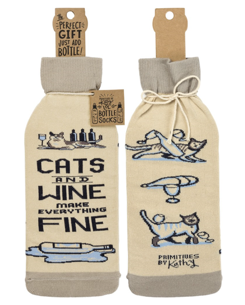 cats and wine socks and wine tote gift set - Funky Cat Emporium