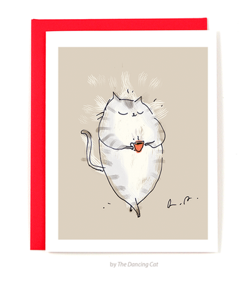 Coffee Café Cat • Friendship Card • Just Because Card