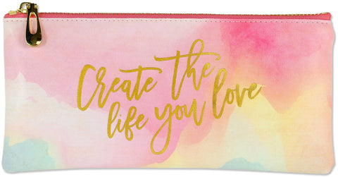 watercolor sunset pouch