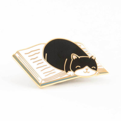 Cat Curled Up in a Good Book Enamel Pin - Funky Cat Emporium