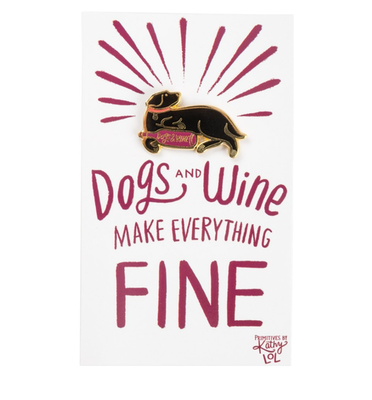 Dogs and Wine • Enamel Pin & Card Set