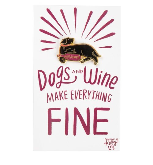 dogs and wine enamel pin - Funky Cat Emporium