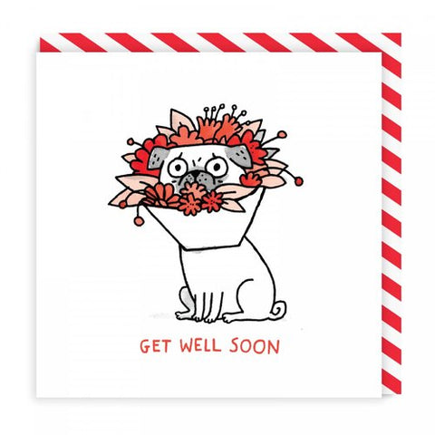 flower dog cone get well soon card - Funky Cat Emporium