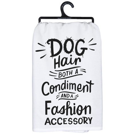 dog hair both a condiment and a fashion accessory tea towel - Funky Cat Emporium