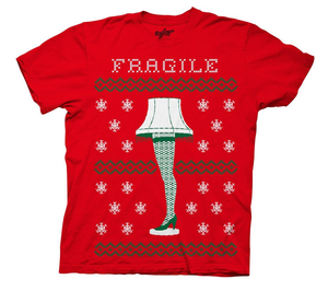 christmas story fragile leg lamp faux sweater tee - Funky Cat Emporium
