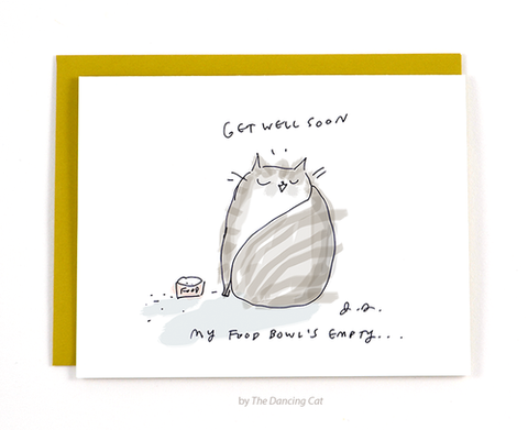 empty food bowl cat get well soon card - Funky Cat Emporium