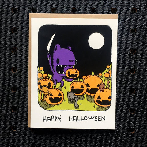pumpkin carving halloween card - Funky Cat Emporium