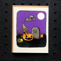 Witch Cat Halloween Card