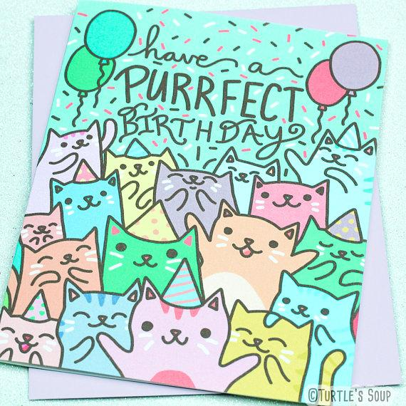 purrfect cat party birthday card - Funky Cat Emporium