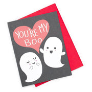 "Valentine, love, or Halloween card with a black background, a red heart that say's ""You're my boo"" in white caps and two ghosts. One ghost has it's eyes closed and smiling, while the other has a open mouth smile with open arms. Red envelope behind card."