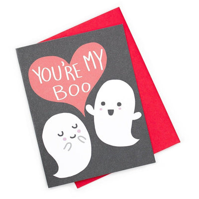Valentine, love, or Halloween card with a black background, a red heart that say's