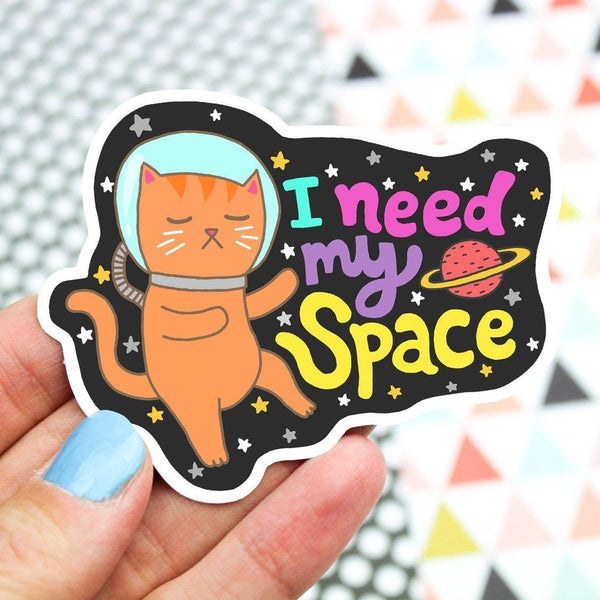 i need my space cat vinyl sticker - Funky Cat Emporium
