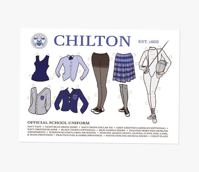 Chilton School Paperdoll Postcard