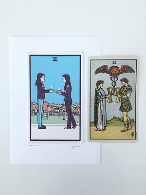 Two of Cups Tarot Card Print