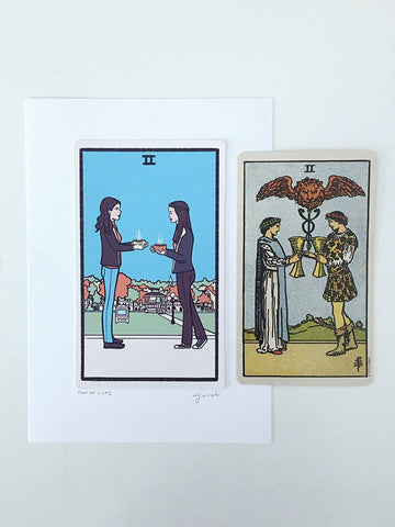two of cups tarot card print - Funky Cat Emporium