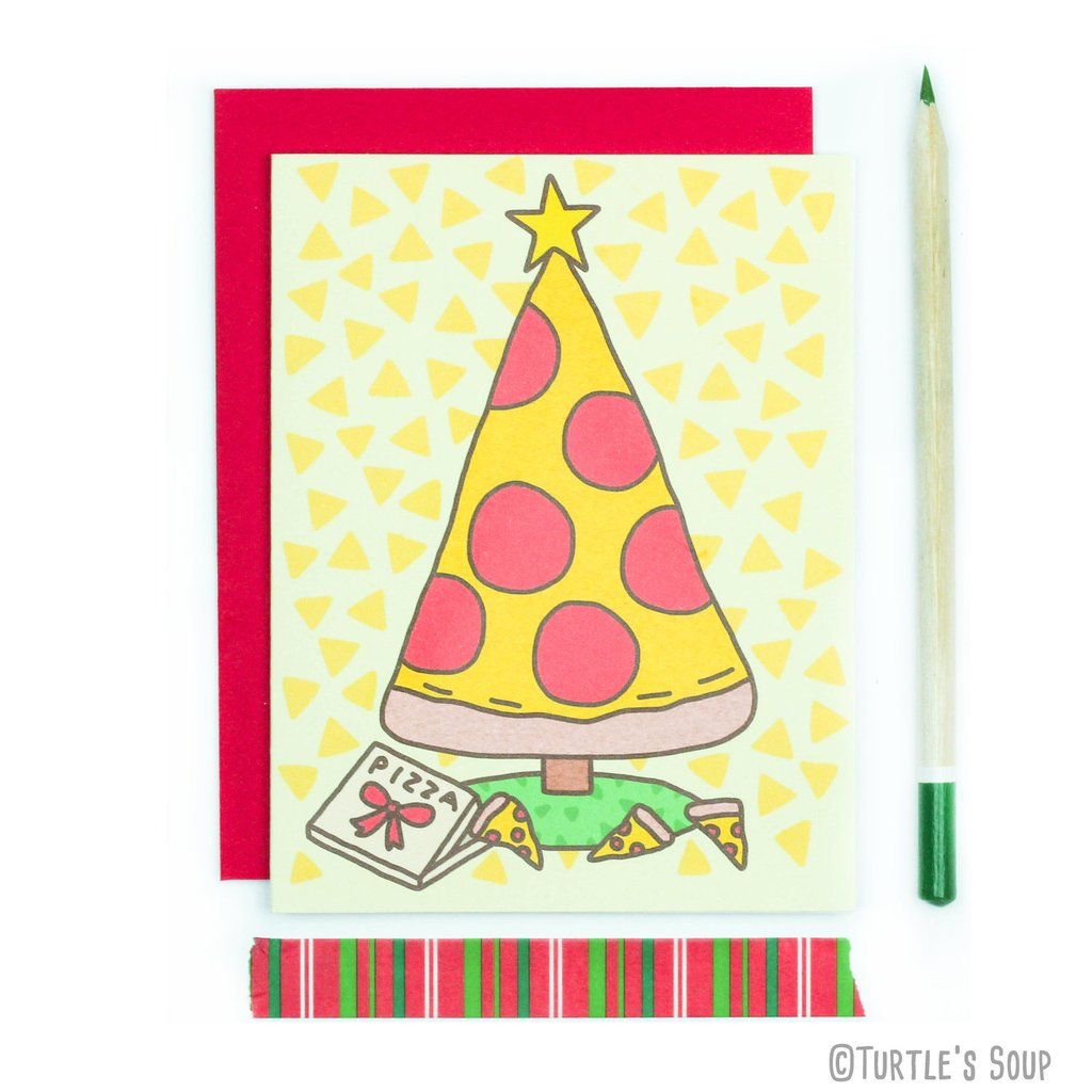 Slice of Pizza Tree Christmas Card - Funky Cat Emporium