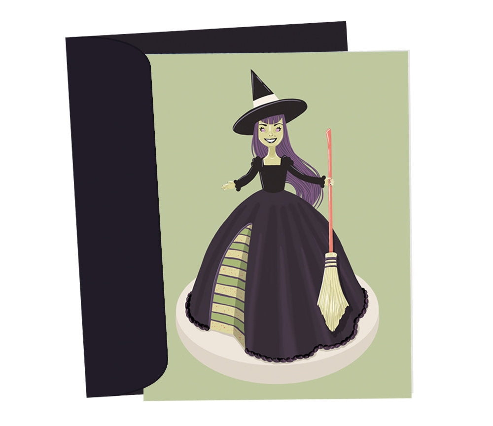 witch doll cake card - Funky Cat Emporium
