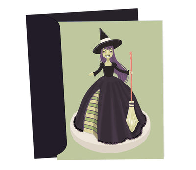 Witch Doll Cake • Halloween Card • Birthday Card