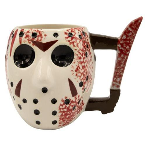 friday the 13th jason mask with knife sculpted mug