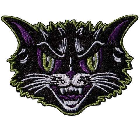 vintage halloween cat head patch - Funky Cat Emporium