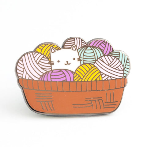 basket of cat and yarn enamel pin - Funky Cat Emporium