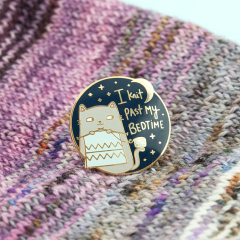 knit past bedtime enamel pin - Funky Cat Emporium