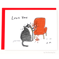 Love You Chair Rip Cat Love & Friendship Card - Funky Cat Emporium