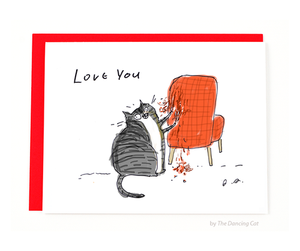 love you chair rip cat card - Funky Cat Emporium