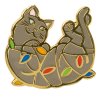 Naughty Christmas Cat Enamel Pin - Funky Cat Emporium