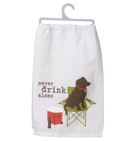 never drink alone dog tea towel - Funky Cat Emporium