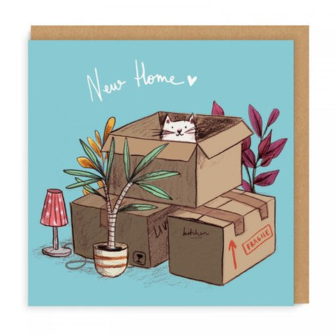 new home cat boxes housewarming card - Funky Cat Emporium