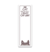 • One Cat Away Crazy Cat Lady • Magnetic List Notepad •