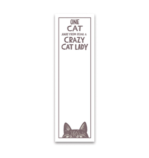 One Cat Away Crazy Cat Lady Magnetic List Notepad - Funky Cat Emporium