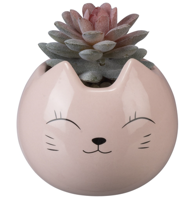 Pink Cat Kawaii Desktop Planter