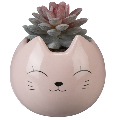 pink cat kawaii desktop planter - Funky Cat Emporium