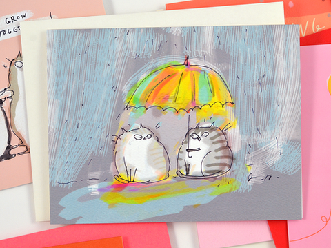 rainy day cats card - Funky Cat Emporium