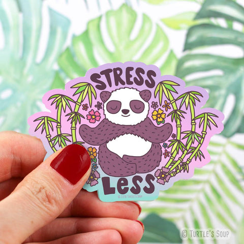 stress less panda vinyl sticker - Funky Cat Emporium
