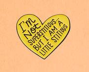 I am a Little Stitious Enamel Pin - Funky Cat Emporium