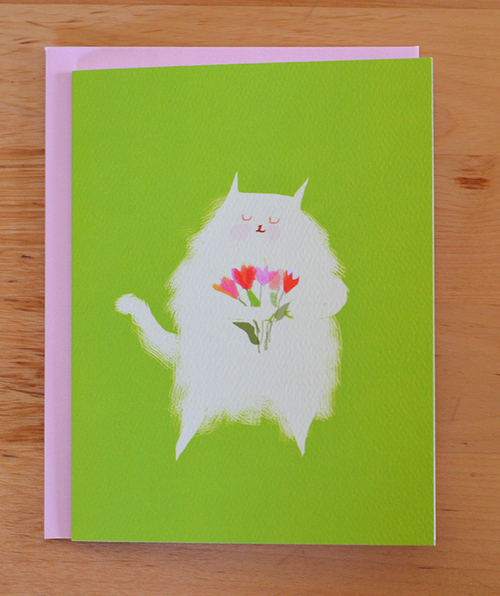 fluffy tulips cat card - Funky Cat Emporium